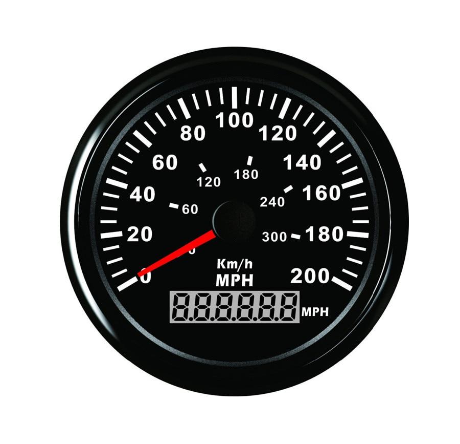 Universal 85mm 12V - 24V  GPS Speedometer Odometer Gauge Meter 200KM/H For Car Motorcycle Trucks
