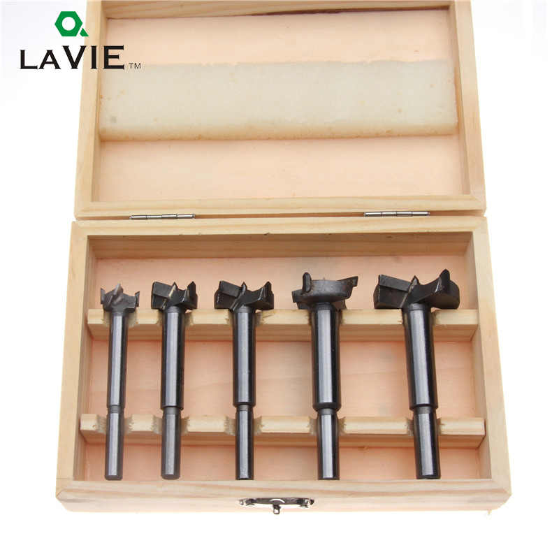 LAVIE 5pcs Woodworking Forstner Drill Bit Wood Tool Set 15 20 25 30 35mm Carbide Cutter Wooden Hole Saw Round Shank Bits DB03002
