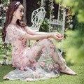 Hecho a mano bordado flores perspectiva sexy lady sweet girl dress summer dress estilo bohemio largo dress para la mujer