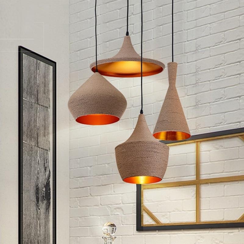 Us 44 49 18 Off Nordic Modern Pendant Lights Kitchen Lamp Vintage Loft Ceiling Kitchen Island Hanglamp Dining Room Rope Hanging Light Fixture In
