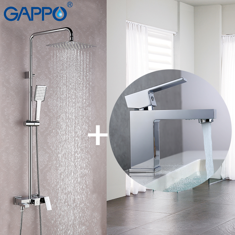 GAPPO Bathtub Faucets faucet set bronze Square bathtub shower faucet Bath Shower tap stainless shower head wall mixer tap