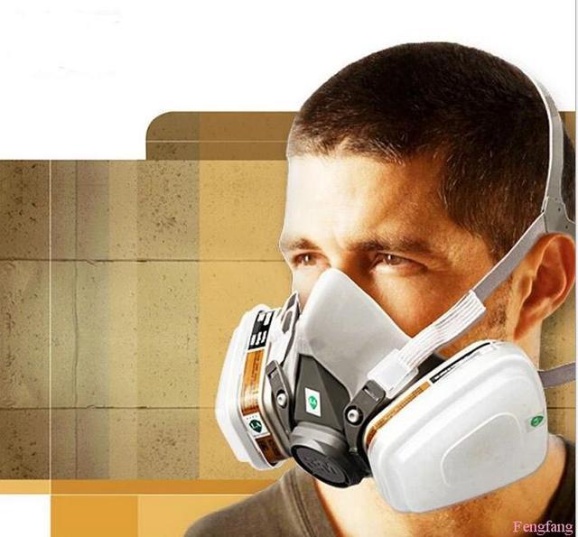 Iii M respirador máscara de gas alta calidad del gel de silicona de la pintura del respirador 7 combinación traje gris máscara protectora envío gratis