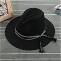 Ms. Europe Retro Elegant Unisex Wool Jazz Hat Autumn Winter Caps Tassel Solid Colors Fashion Lady Chapeau Snapback Visor Bone