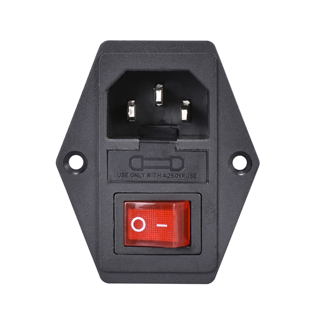 1/2/3 PCS 10A 250V Power Switch AC Power Outlet With Red Triple Rocker Switch Fused Module Plug For 3D Printer Parts 2