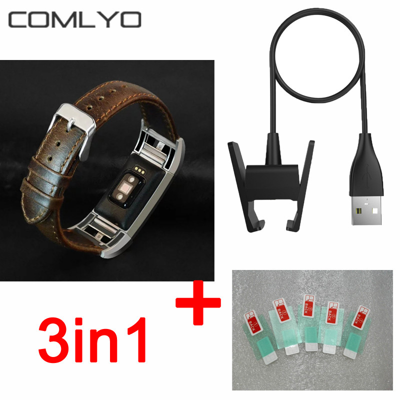 imágenes para 3en1 Para Fitbit Cargo 2 protector de Pantalla HD Ultrafino Superior película pulsera De fitbit cargo 2 de la correa de banda de cuero + USB cargador