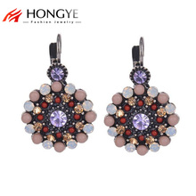 2018 Newest Vintage Romantic Purple Rhinestone Resin Beads Crystal Stud Earrings For Women Flower Trendy Chrismas