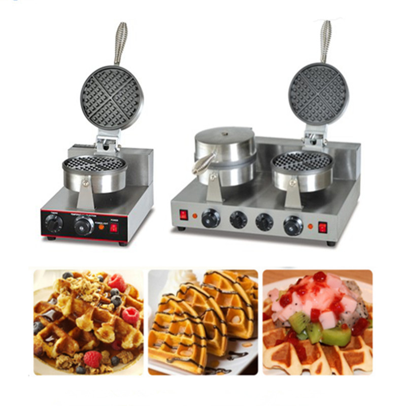 Commercial waffle machine stainless steel double or single heads non-stick waffle baking machine stainless steel axle sleeve china shen zhen city cnc machine manufacture