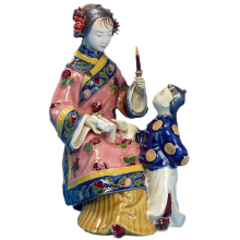 Christmas Decoration Sculpture Arts Chinese Traditional Ceramic Statues Collectibles Vintage Porcelain Figurine for Home Decor nordic macaron color french bulldog ceramic figurines collectibles for home decor weddings centerpieces porcelain animal statues