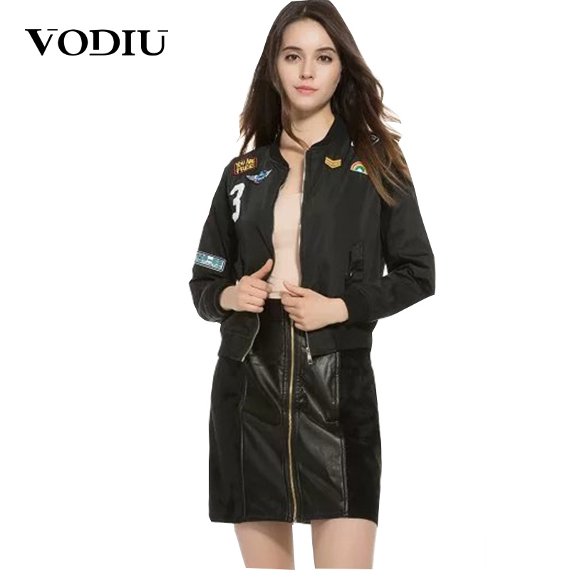 Bomber jacket women spring Badges tops Pilot with Patches thin ladies windbreaker zipper outwear Thin female jackets Basic Coats
