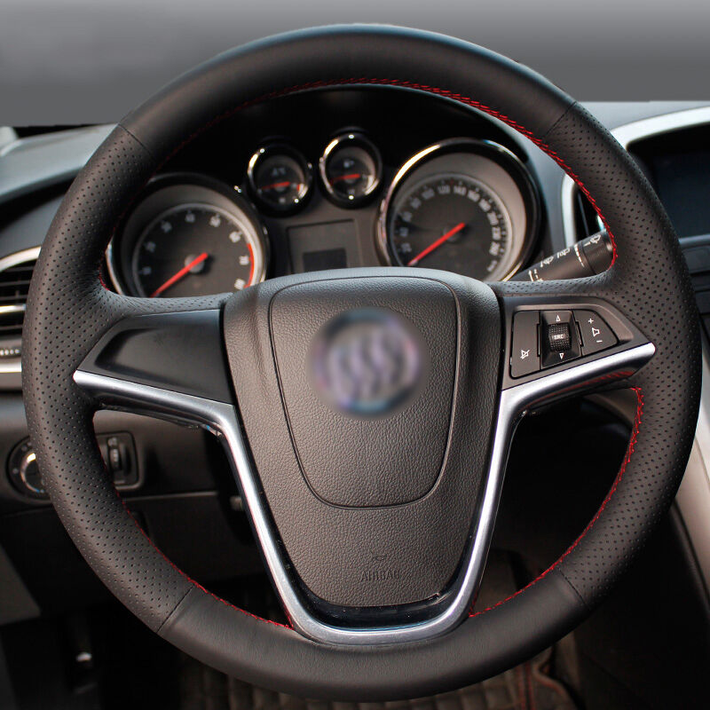 cheapest Shining wheat Hand-stitched Black Leather Car Steering Wheel Cover for Buick Excelle XT GT Encore Opel Mokka