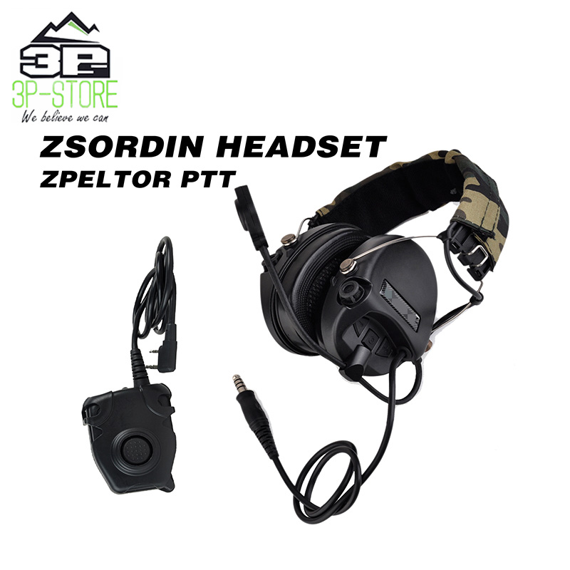 WADSN Hunting Sordin Headset  Earphones Anti Noise  With Tactical Peltor PTT Military Standard Version WZ111-BK+WZ112-KENWADSN Hunting Sordin Headset  Earphones Anti Noise  With Tactical Peltor PTT Military Standard Version WZ111-BK+WZ112-KEN