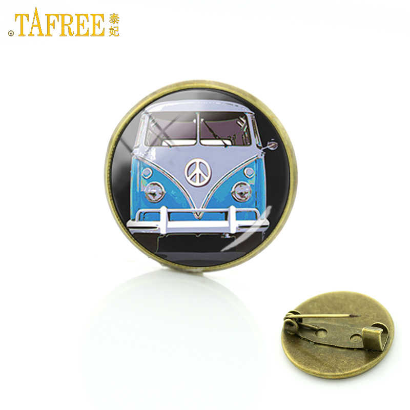 TAFREE 2017 new Hippie Peace Sign Van Bus badge brooch pins glass cabochon dome car charms brooches for men women jewelry CT91