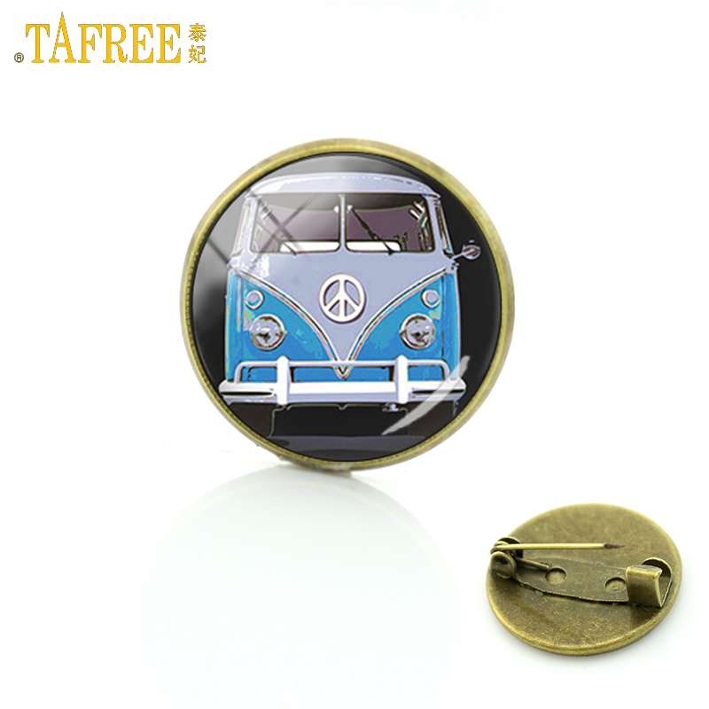 TAFREE 2017 new Hippie Peace Sign Van Bus badge brooch pins glass cabochon dome car charms brooches for men women jewelry CT89
