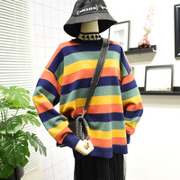 Autumn Women Knitted Sweater Rainbow Stripe Loose Outerwear Long Batwing Sleeve Pullover Knitwear Female Casual Tops One Size