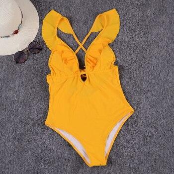 Riseado Một Mảnh Áo Tắm 2019 Sexy Thọc Đồ Bơi Phụ Nữ Rắn Chữ Thập Bandage Đồ Tắm Ruffle Tắm Phù Hợp Với Beachwear