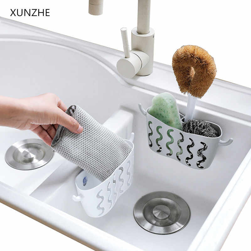 XUNZHE New Kitchen storage punch-free suction cup storage hanging basket faucet sponge drain basket kitchen supplies shelf