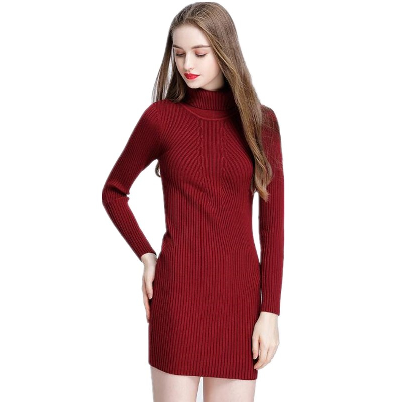 2017 Fashion Women Warm Knitted Sweater Dresses Autumn Winter Female Turtleneck Long Sleeve Sexy Mini Elastic soft Sweater Dress multic femme skullies autumn beanies winter warm chapeau women hat female knitted cap ladies bonnet