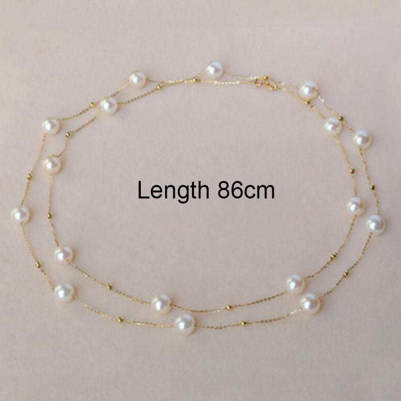 Classical 18k gold beads and pearls star family necklace choker sweater chain for women ladies Mom girls best gift in summer vintage beads feather leaf sweater chain and a pair of earrings for women