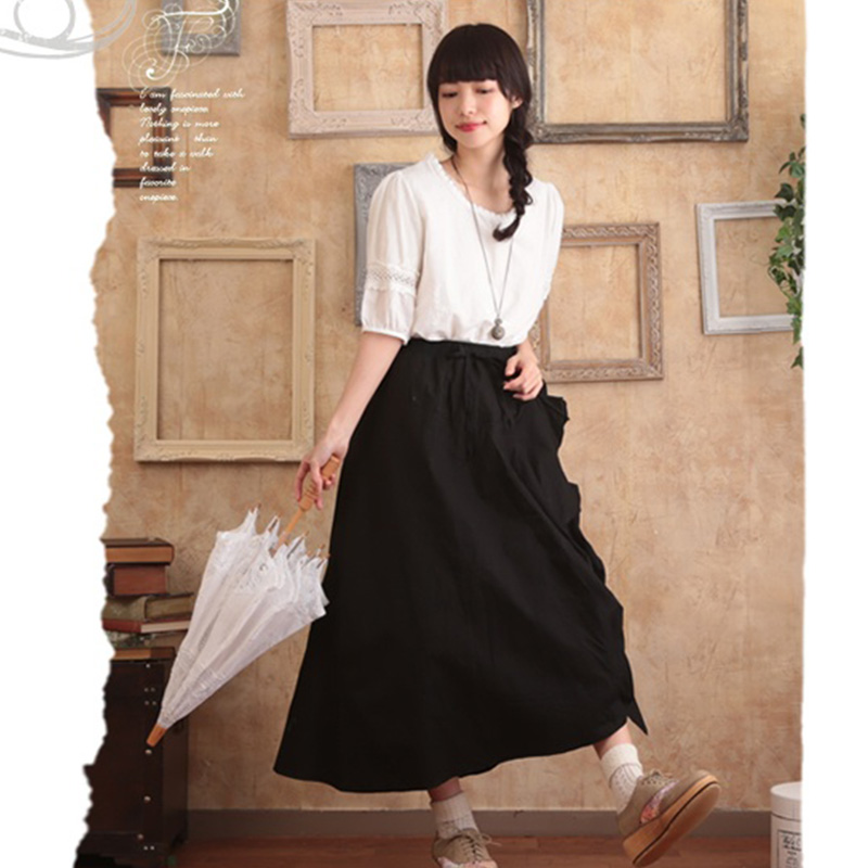 Harajuku Mori Girl Skirt Women Cloting Spring Autumn Solid Black Asymmetric Long Style Female Vestido Casual Sweet Skirts A202