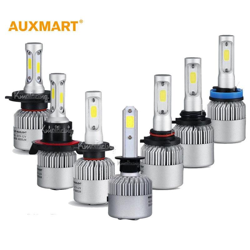 Prix pour Auxmart H1/H4/H7/H11/H13/9005/9006 COB 72 W LED Phare De Voiture ampoules 6500 K 8000LM Phare Tout-En-Un Salut-Lo/Faisceau Unique Brouillard lampes