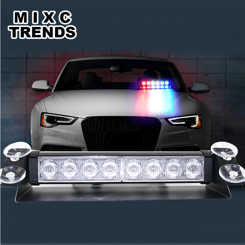 MIXCTRENDS Customize 8 LED car Police Strobe Flash Light Dash windshield Emergency Warning Flashing fog Beacon Light car styling s2 shovels ray bead 96w led flashing police strobe intimidator windshield dash light