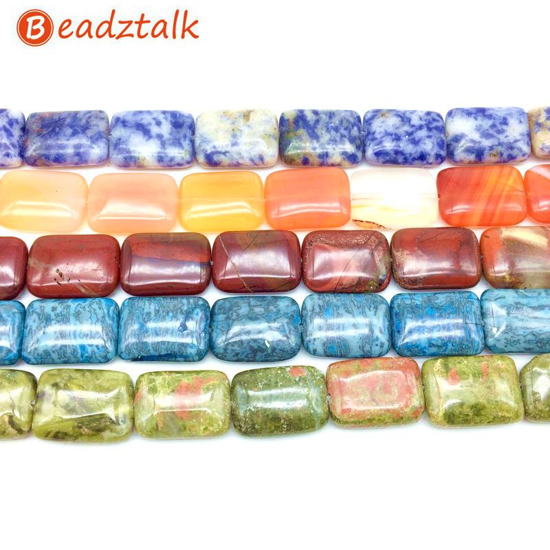 Beadztalk Mode Batu Beads String Puff Bead Rectangle Datar 13x18mm Bantal DIY Membuat Perhiasan Anting Gelang dll