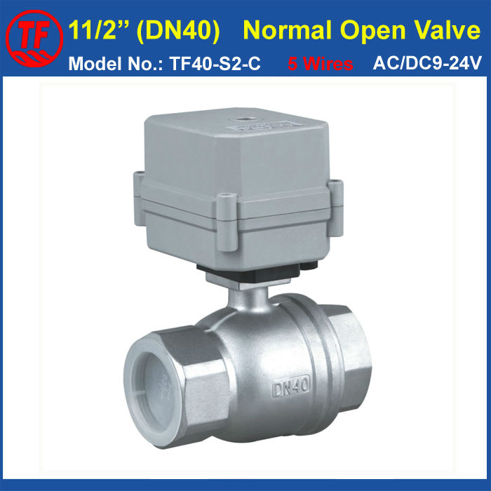 Stainless Steel DN40 Normal Open Motorized Valve AC/DC9-24V 5 Wires With Signal Feedback BSP/NPT 11/2'' 2-Way 1.5 inch CE. IP67 tf25 b2 b 2 way dn25 full port power off return valve ac dc9 24v 2 wires normal open valve with manual override