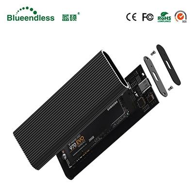 Blueendless M.2 Portable Ssd Hard Disk Cases Type C Usb 3.1 High Speed Hard Drive Enclosure Black Aluminum Hdd Caddy