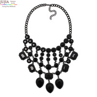 2014 Z Design Wholesale Fashion Necklace Europe Costume Chunky Crystal Choker Tassel Bib Pendant Necklace Statement