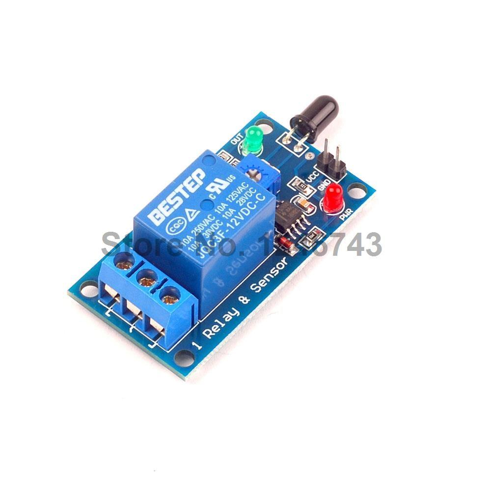 1PCS Flame Sensor Module 12V Relay Module In Flame Fire Detection Fire Alarm ...