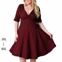 Large Size Dress 7XL 8XL Sexy V Neck Backless Zipper Ruffle Tunic Big Swing Wrap Dress