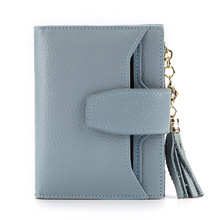 Women Genuine Leather Wallet Tassel Short Purse Coin Pocket Female Card Holder Case