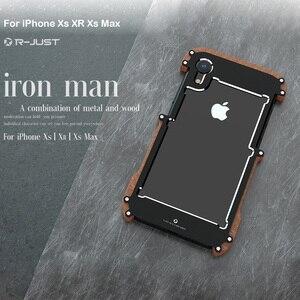 Image 3 - Telefon kılıfı için iPhone XS Max orijinal r just ahşap tampon Metal kasa iPhone XS için XR alüminyum çerçeve telefon kılıfları aksesuarları