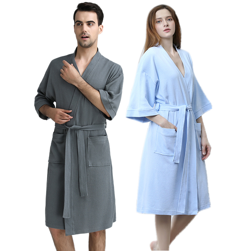 Men 100% Cotton Suck Sweat Towel Bathrobe Mens Plus Size Sexy Waffle Kimono Bath Robe Hotel Male Women Dressing Gown Spa Robes