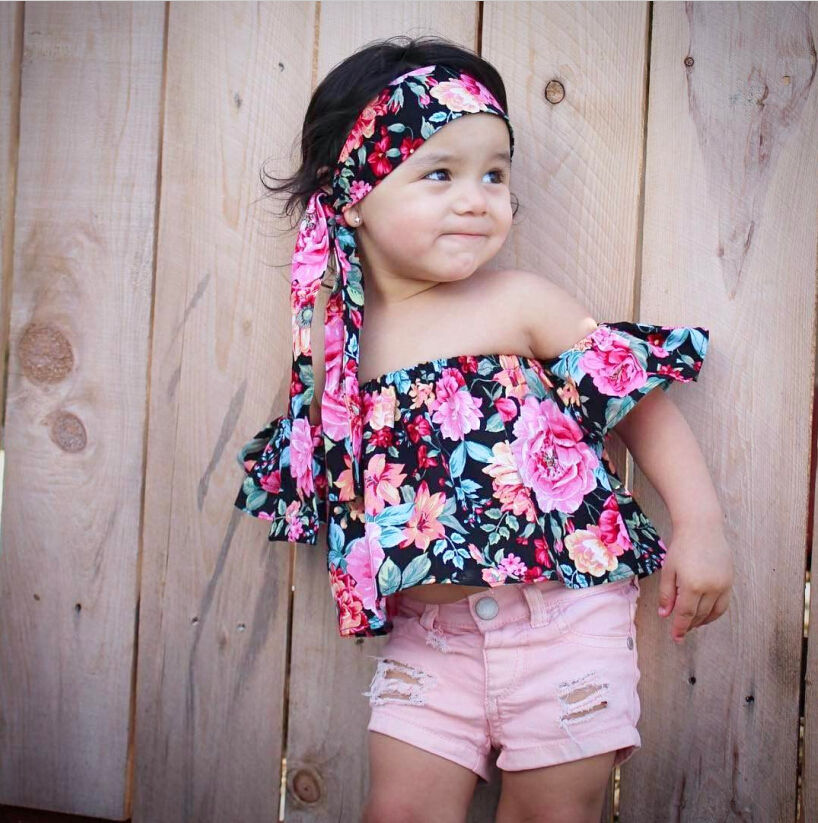 03d063086107e Summer Kids Baby Girls Off Shoulder Floral T-Shirts Tops+Bowknot Headband  2PCS Outfits Cute Baby Girls Clothes