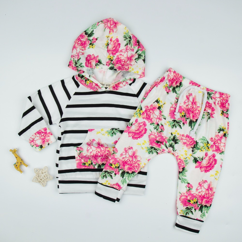 On Sale 2018 Baby Girls Clothing Sets Hoodie Pullover Tops Casual Striped Pants 2PCS Infant Clothing Sets Floral Outfits