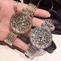 2016 Женщины Rhinestone Часы Розовое Золото Платье Часы Полный Diamond Crystal женщин Роскошные Часы Женские Кварцевые Часы relojes