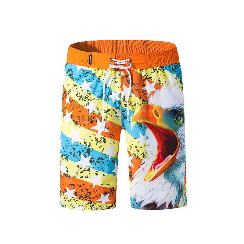Brand New Summer Men's Swimsuits Eagle Print Board Shorts Quick Dry Sailing Beach Wear Halter Bathing Suits Swimming Trunks 2019