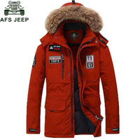 Afs Jeep 2016 80 Duck Down Jacket Men Casual Warm Winter Coat Men Thick Windbreaker Parka