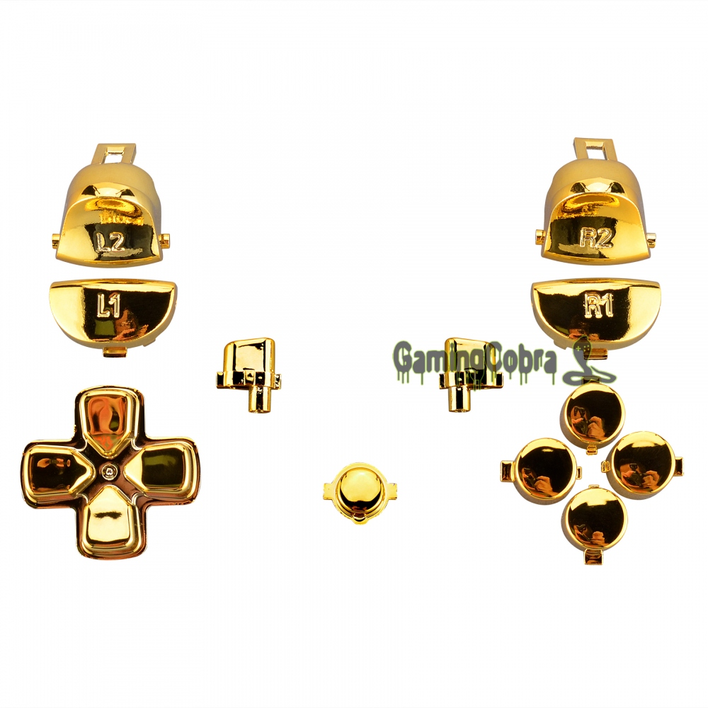 Glossy Gold Full Set Kit Buttons for PS4 Pro Slim Controller CUH-ZCT2 JDM-040