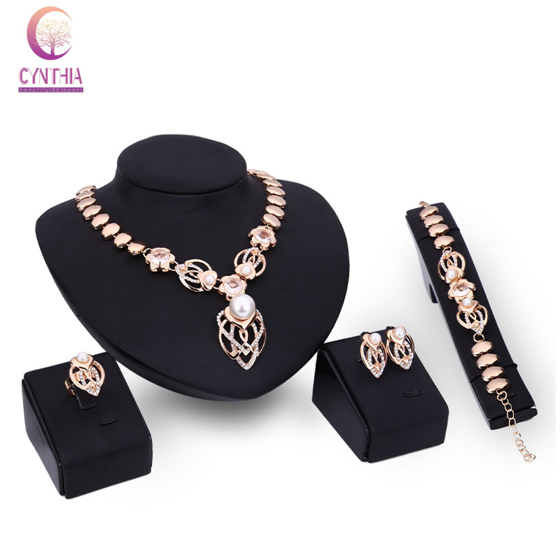 Women Crystal simulated pearl Necklace Earrings Bracelet Ring Wedding Party Costume African Beads Dress Accessories Jewelry Set
