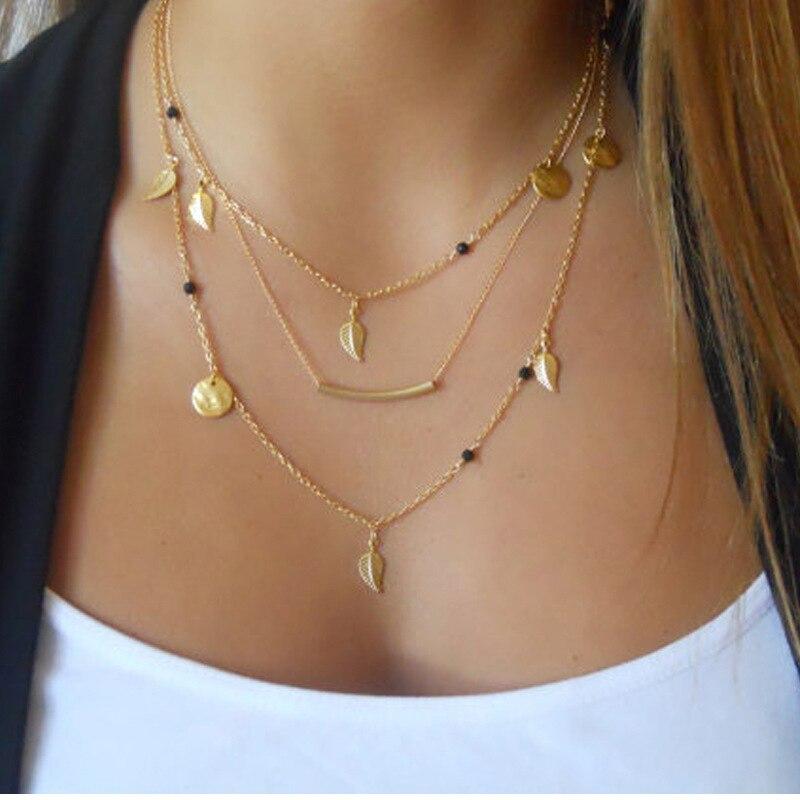 Si moi chaude multicouche pièce pendentif Maxi colliers couleur or feuille long Collier femmes bijoux fête cadeau Collier Ras Du Cou