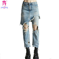 Yomsong 2017 Fashion Distressed Jeans Tassel Loose Short Skirt Jeans Fake Two Sets Jeans 2545