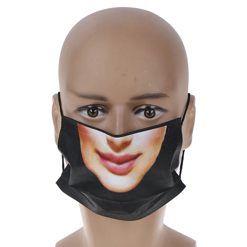 5Pcs Funny 3D Expression Mouth Face Mask Nonwovens Dustproof Mouth Anime Women Face Mouth Mask