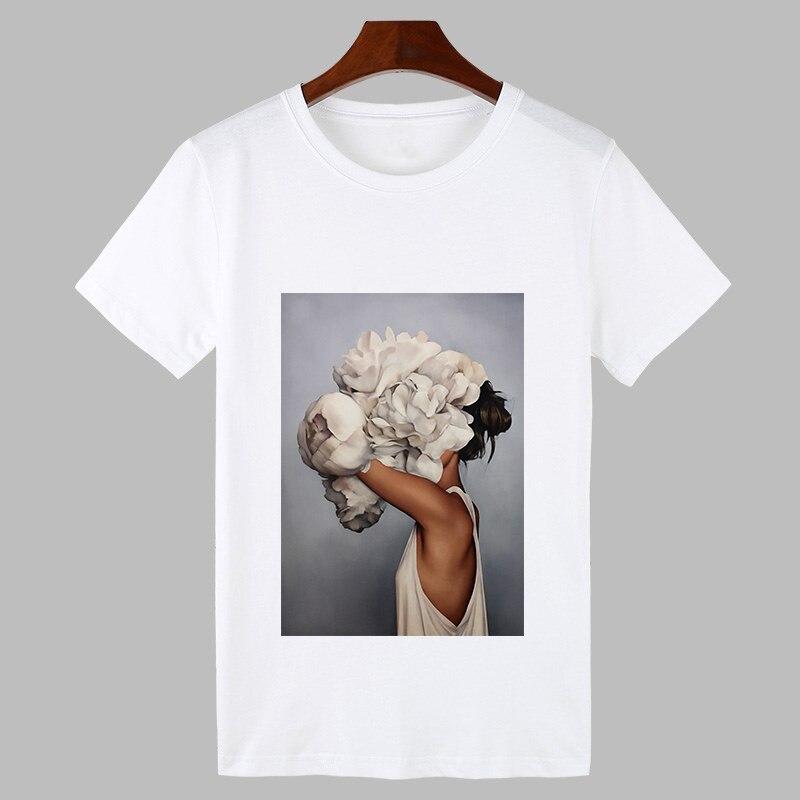 2019 Sexy fleurs plume imprimer Harajuku T-shirt femmes mode T-shirt o-cou à manches courtes T-shirt hauts blancs femme vêtements