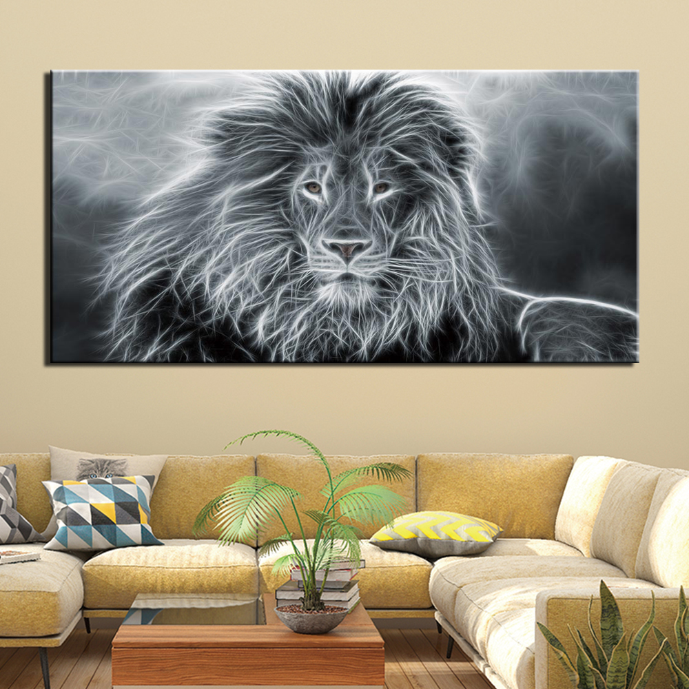 1 Panels Wall Art Pictures Canvas Print Artwork Modern Animal Lion Posters For Home Living Room Wall Decor