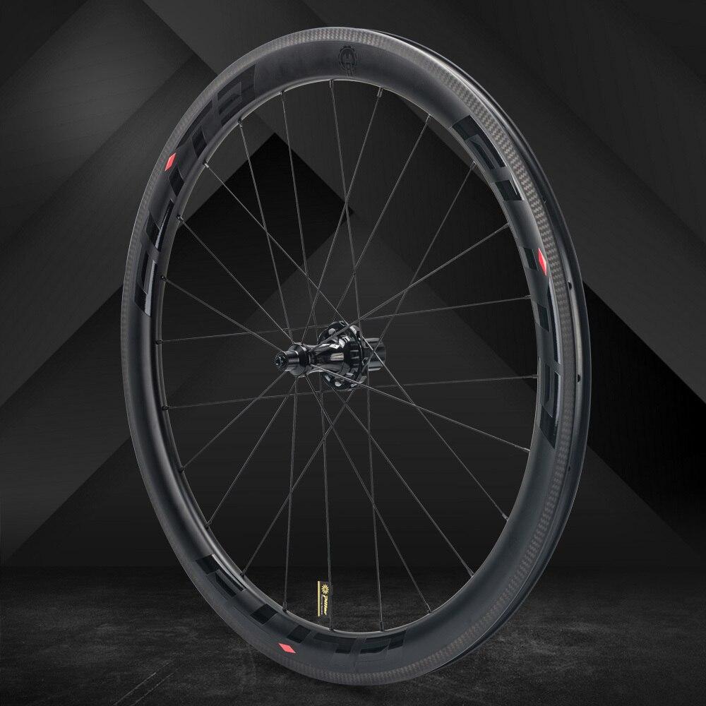 Elite SLR carbone roue de vélo de route droite tirer faible résistance moyeu en céramique 25/27mm plus large tubulaire pneu Tubeless 700c roues