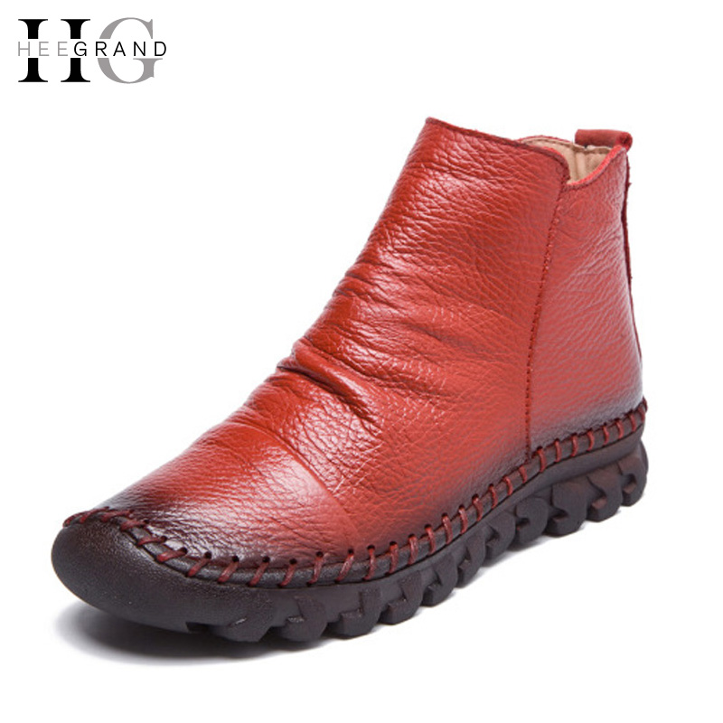 ФОТО HEE GRAND Genuine Leather Women Boots Ankle Winter Shoes Woman Mixed Colors Casual  Round Toe Slip On Flats Shoes Woman XWX5532
