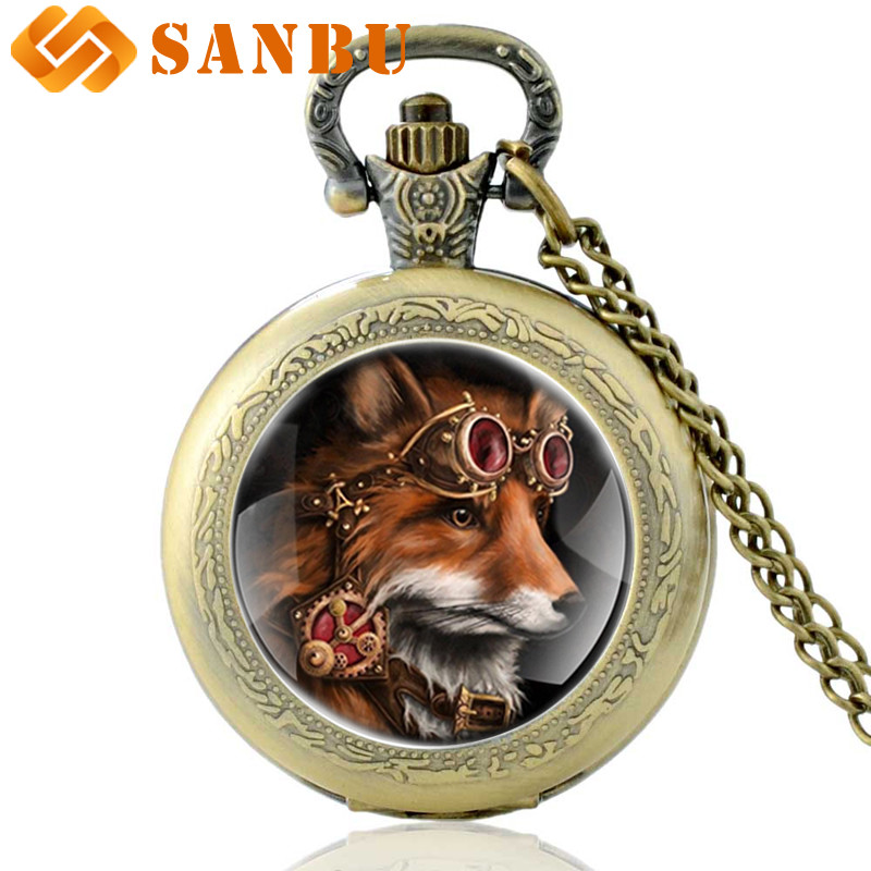 Antique Steampunk Fox Quartz Pocket Watch Vintage Bronze Men Women Punk Necklace Antique Jewelry