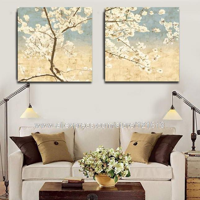 Perfect Cherry Blossom On Tiffany Blue Background Canvas Oil Painting Christmas  Decoration View Master Bathroom Background(